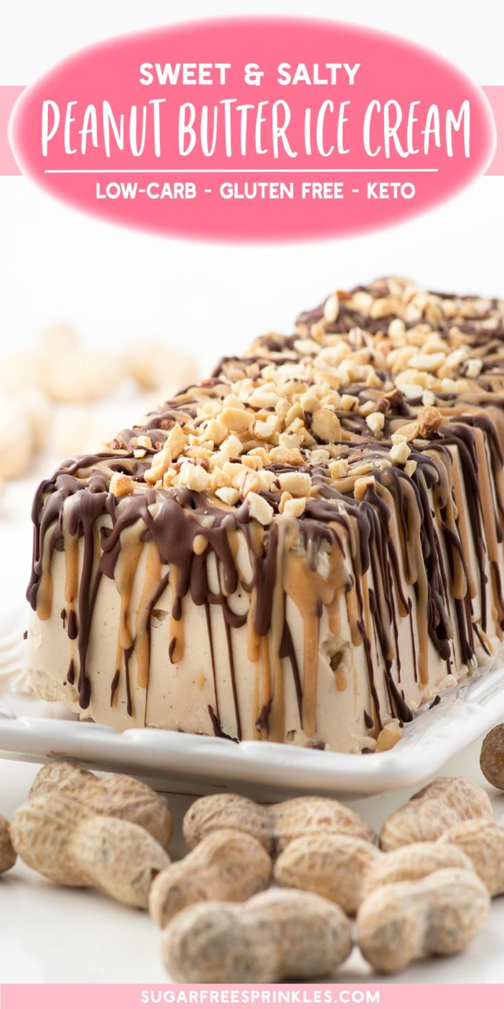 A homemade peanut butter ice cream cake topped with chocolate and peanut butter crackle and roasted peanuts. This low carb recipe is sugar-free and keto friendly. An easy low carb recipe to pull together for a hot summer day, or just because you love peanut butter. Included are instructions for folks without an ice cream maker too!