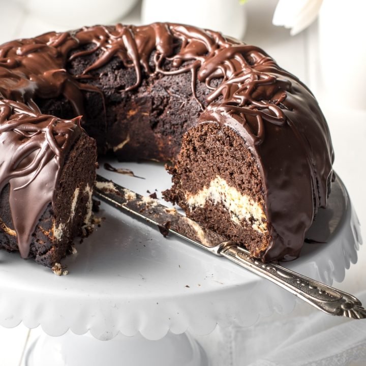 Chocolate Bundt Cake with Cream Cheese Filling - Low Carb & Gluten Free