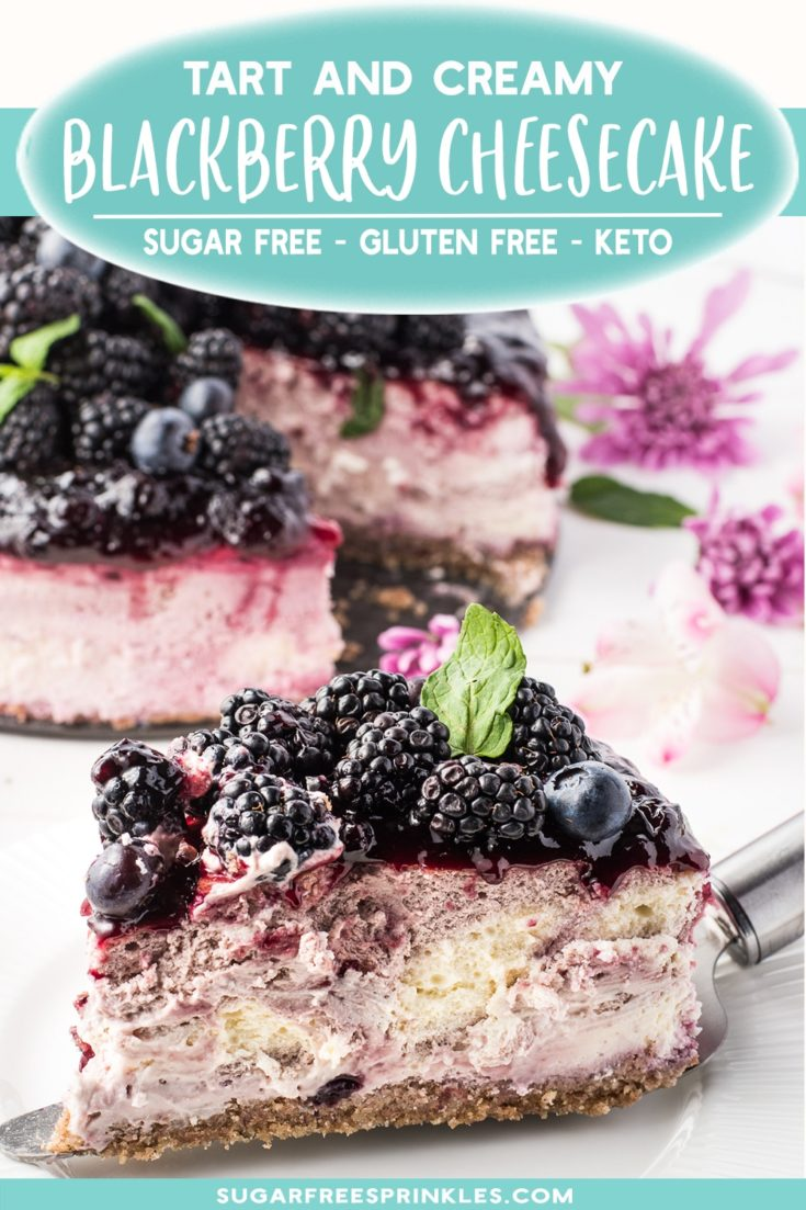 A beautifully layered blackberry cheesecake with a delicious warm spice crust.   This recipe is low carb, keto friendly, sugar-free and gluten-free.  A beautiful show-stopping low carb dessert perfect for a party or summer BBQ.   No one will believe it's sugar-free.
