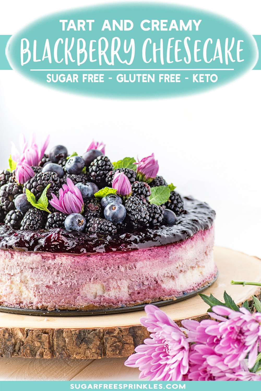 A beautifully layered blackberry cheesecake with a delicious warm spice crust. This recipe is low carb, keto friendly, sugar-free and gluten-free. A beautiful show-stopping low carb dessert perfect for a party or summer BBQ. No one will believe it\'s sugar-free.