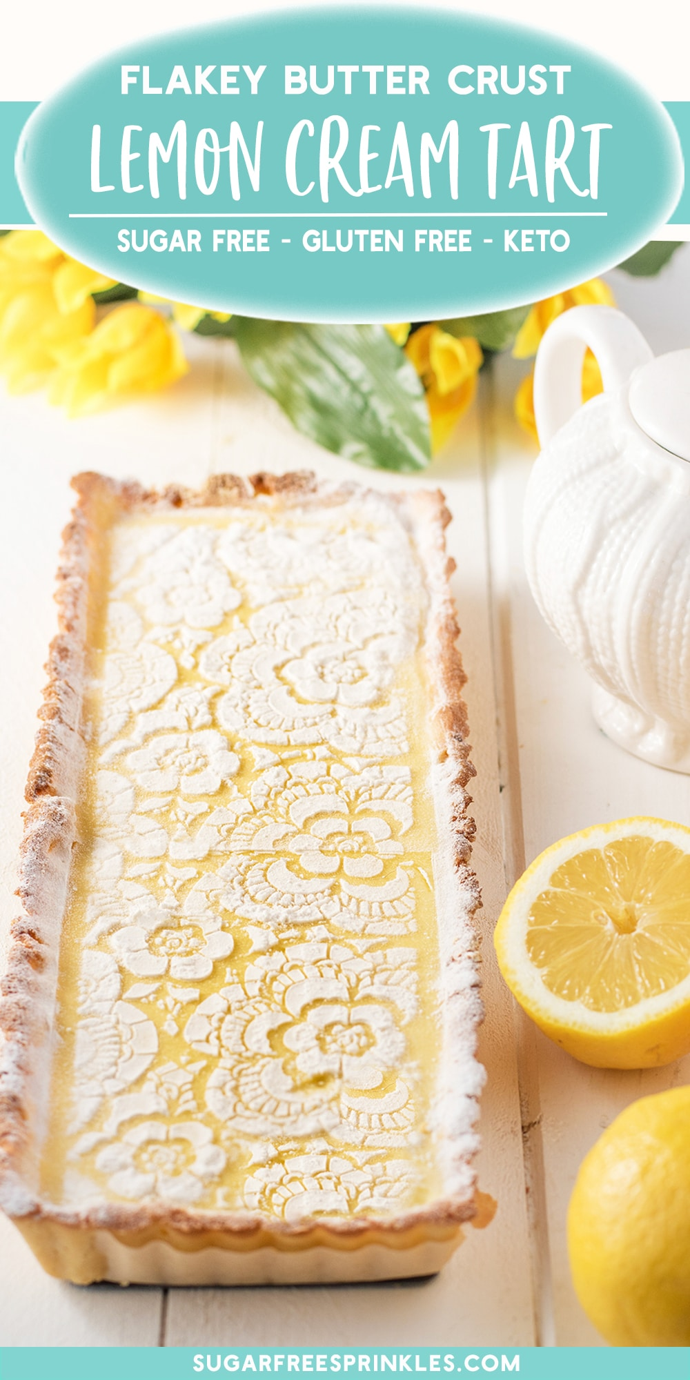A creamy lemon tart that\'s low carb, gluten-free, and keto friendly recipe. This is an easy low carb baking recipe that takes no time at all to pull together. Clocking in at 5.3 carbs per slice it makes for a great low carb dessert option.
