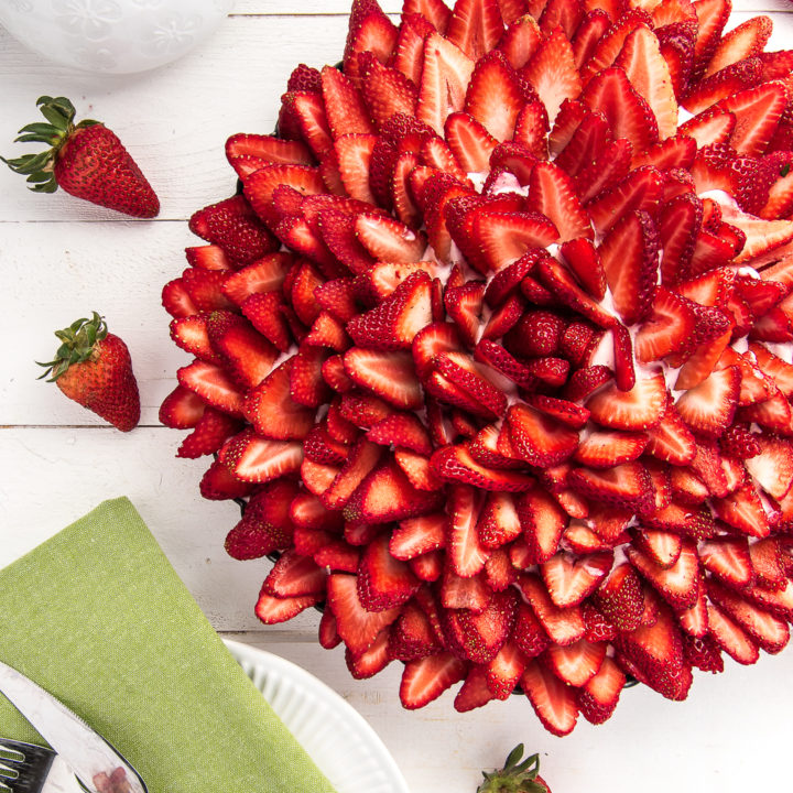 Strawberry Cream Pie with Coconut Shortbread Crust (Low Carb and Gluten free)
