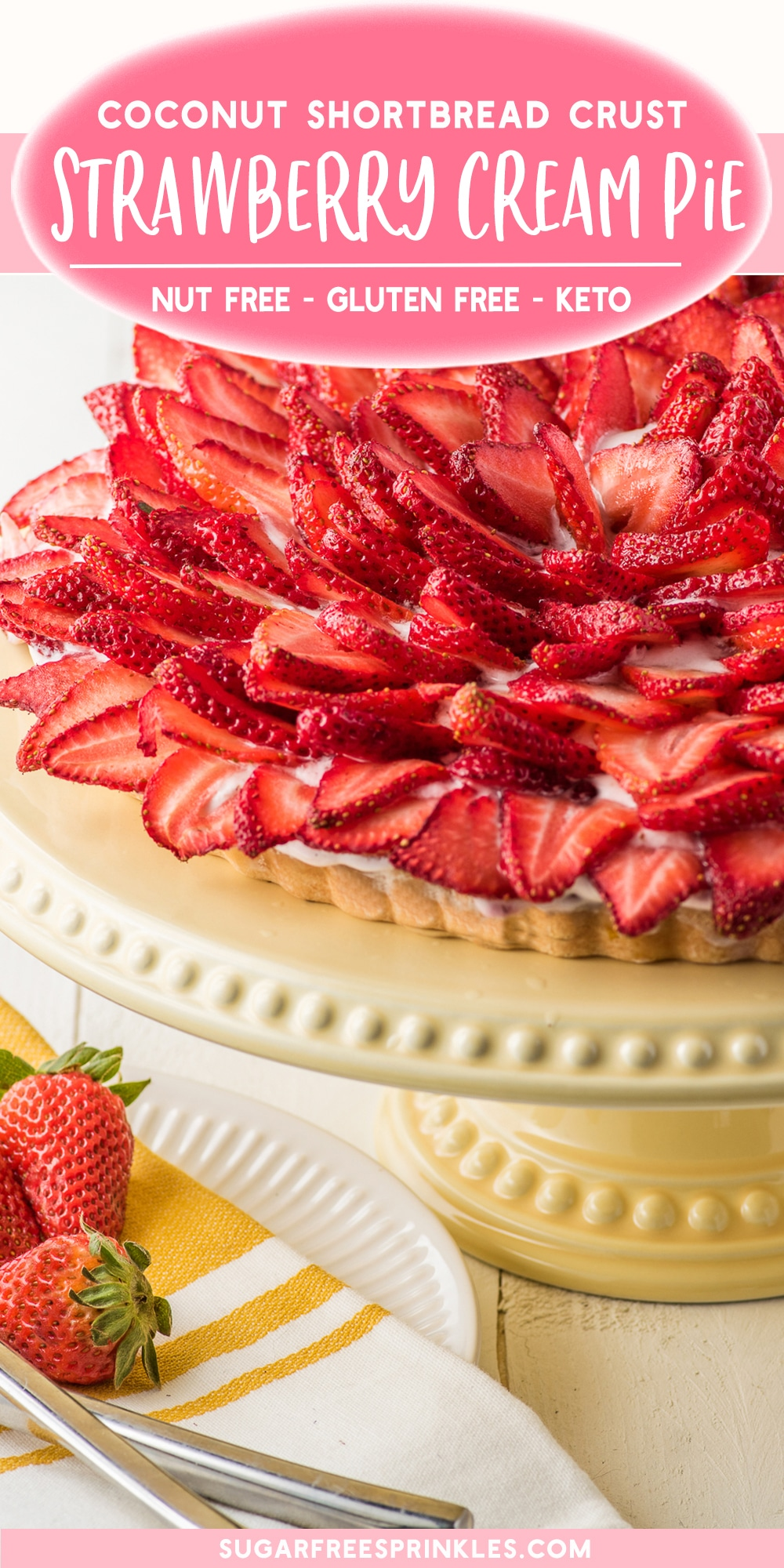 A low carb strawberry cream pie with a coconut flour crust. This sugar-free cream pie only takes 30 minutes to make and a few hours to set in the fridge. The coconut flour crust takes only 10 minutes to bake, and the filling is no bake! A perfect keto dessert for a summer day. This low carb baking recipe is sugar-free, low carb, nut free, gluten free and keto friendly!