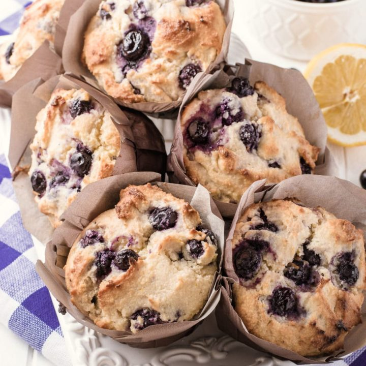 Bakery Style Low Carb Blueberry Muffins (+Gluten Free and Keto Friendly)