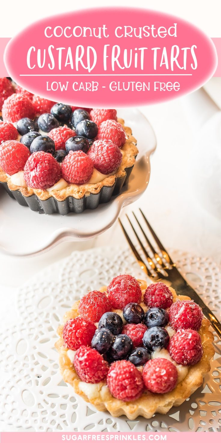 Check out our low carb version of a fresh fruit custard tart. This keto friendly tart pops with freshness! Fresh summer fruits atop a creamy vanilla custard and a perfect sweet buttery crust. A great little gluten-free dessert to have with a cup of tea. A low carb summer recipe perfect for a BBQ or picnic.