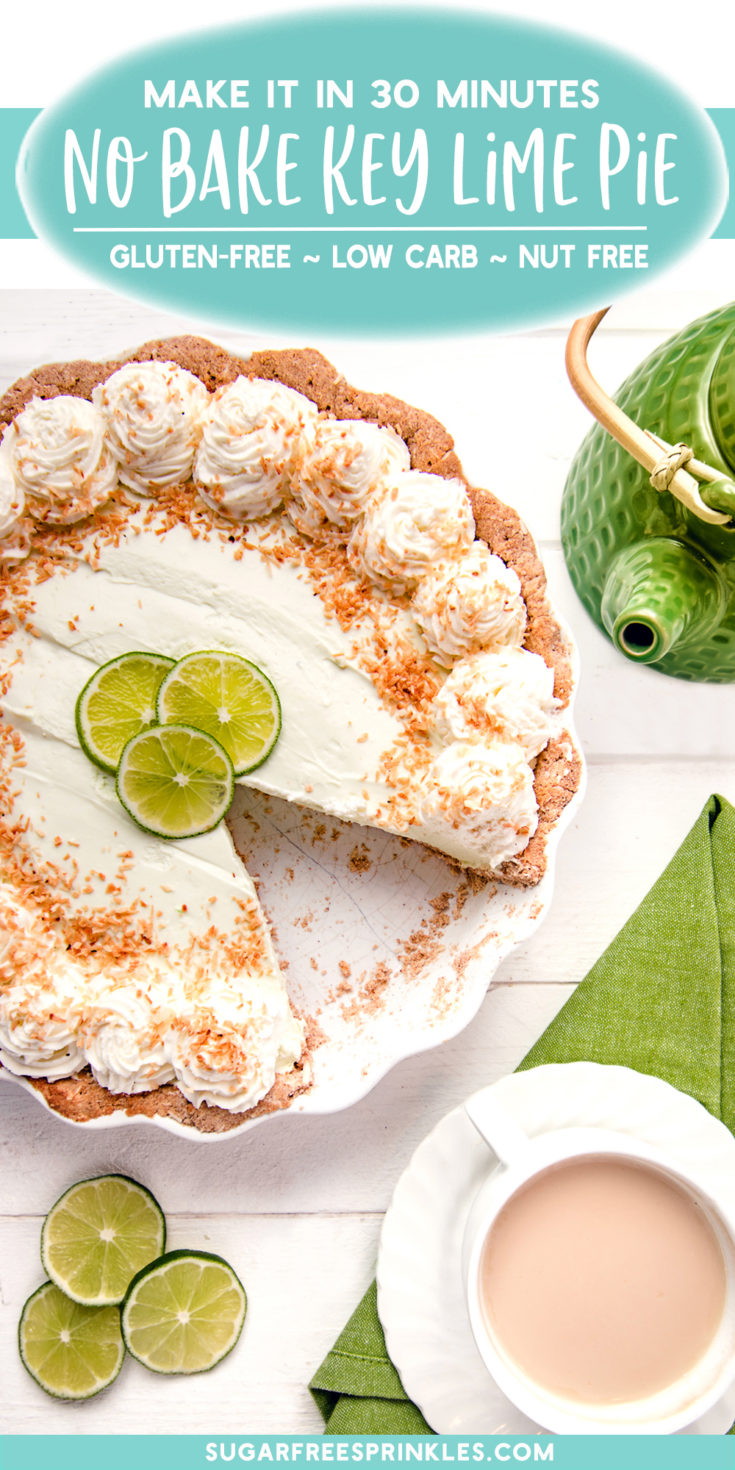 A low carb no bake key lime pie. This low carb pie can be whipped up in about 30 minutes and the filling requires no baking.   The pie will set up thick and creamy with a tart punchy flavour. The cinnamon coconut crust is nut-free and gluten-free.  This is a perfect low carb dessert to serve up after a spicy meal.
