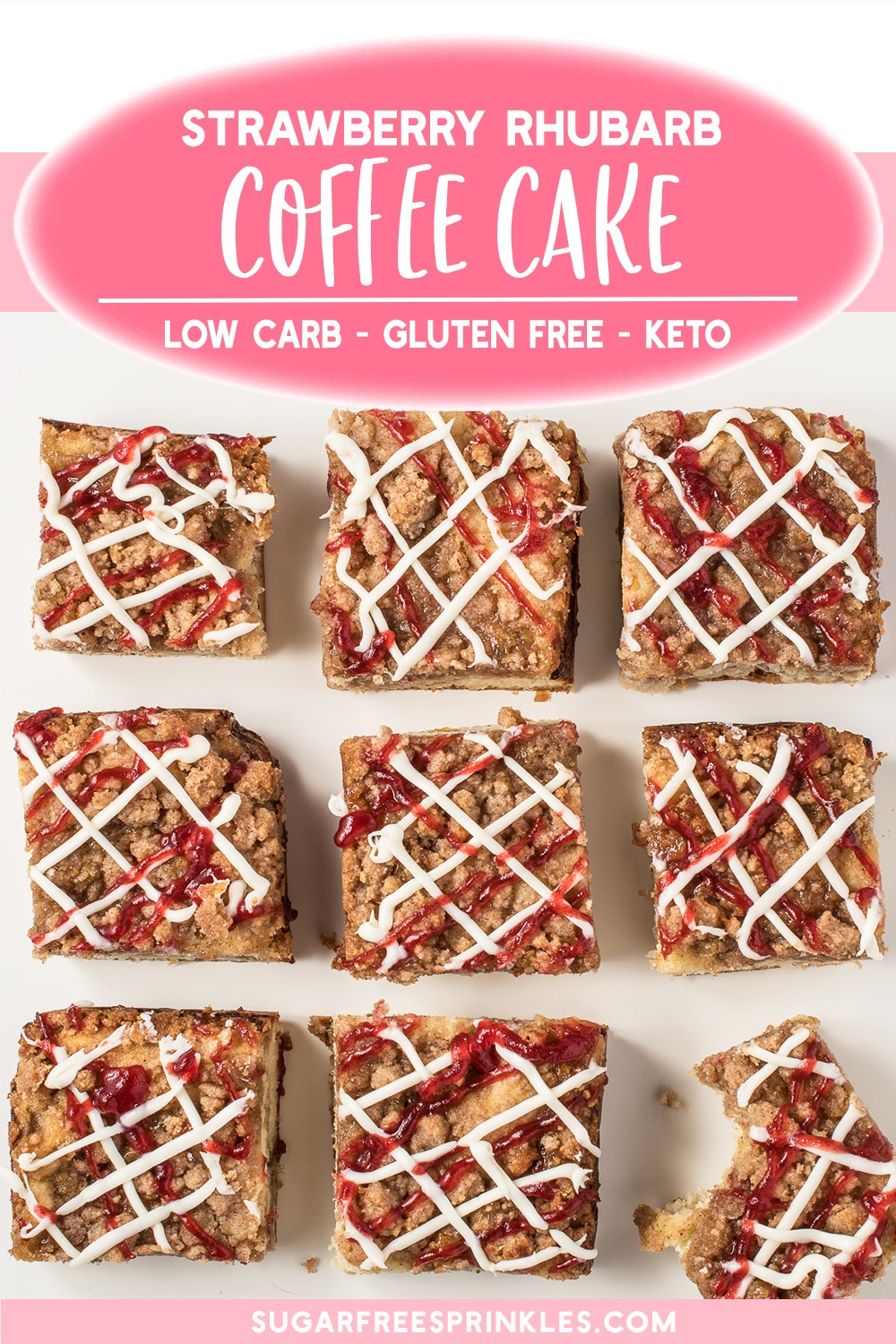 This strawberry rhubarb coffee cake is just as good as the classic recipe, only this low carb recipe has no sugar or gluten! A perfect low carb baking recipe for a simple snacking cake made with garden fresh rhubarb and strawberries. Crumbly, buttery and oh so good, and only 5 net carbs per slice. If it fits your macros, it\'s a great little keto dessert recipe too.