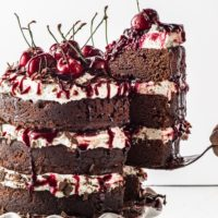 Dark Chocolate Gluten-Free Black Forest Cake ( Sugar Free & Low Carb )