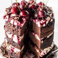 Dark Chocolate Gluten-Free Black Forest Cake ( Sugar Free & Low Carb )