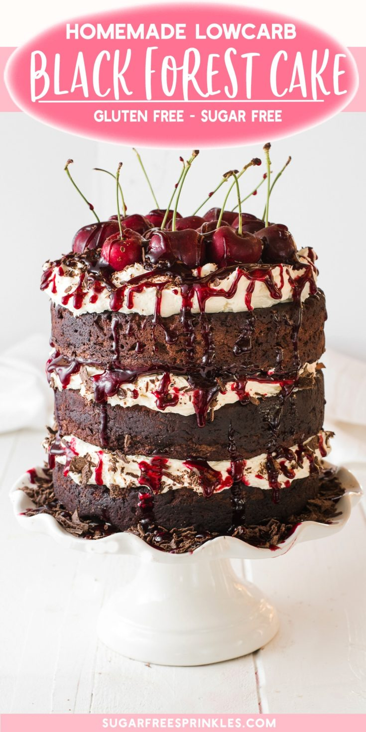 A dark chocolate black forest cake with gooey cherry filling and dark chocolate shavings. This low carb cake is a show stopper, perfect for a dinner party or event. You can bake the gluten-free cakes in advance and freeze them too! No sugar in this cake either, it's low carb and perfect for anyone limiting sugar in their diets. #blackforestcake #lowcarbcake #glutenfreecake #sugarfreecake