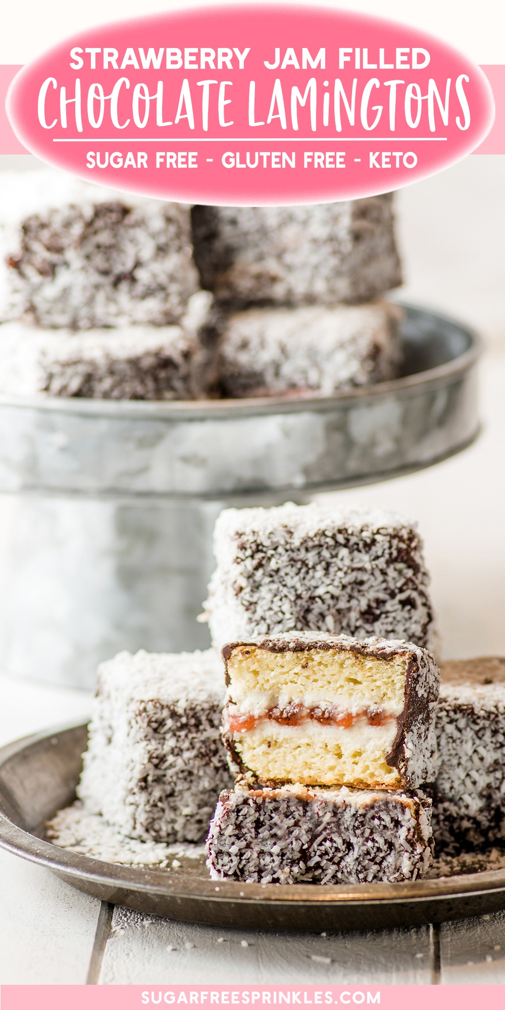Gluten-free lamingtons recipe with jam filling.  A perfect little treat for anyone watching their sugar.   This gluten-free baking recipe starts with a creamy vanilla cake base layered with fresh strawberry jam and coated with chocolate and coconut.   A great little low carb baking recipe for anyone wanting a special treat that won\'t break the diet.