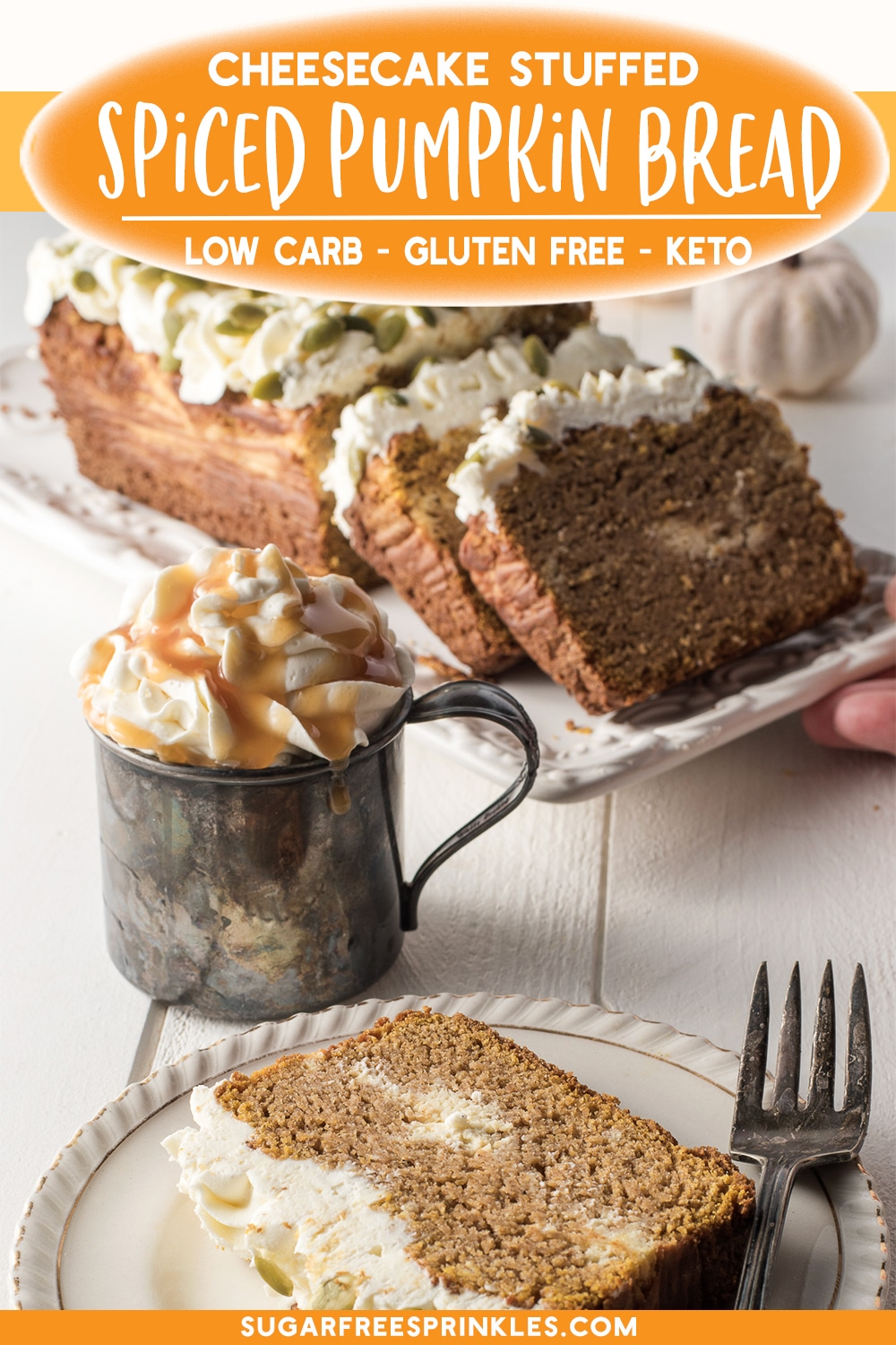 This cheesecake stuffed spiced pumpkin bread is low carb, gluten-free and keto-friendly.   The pumpkin bread is moist and dense and spiced with cinnamon, cloves, and nutmeg and makes a great fall dessert.This low carb pumpkin bread is stuffed with a creamy vanilla creamy cheesecake filling and topped with a whipped cream frosting and raw pumpkin seeds.  A great little low carb treat to have with a hot cup of coffee or tea.   #lowcarbpumkinbread #pumpkinbread #falldesserts
