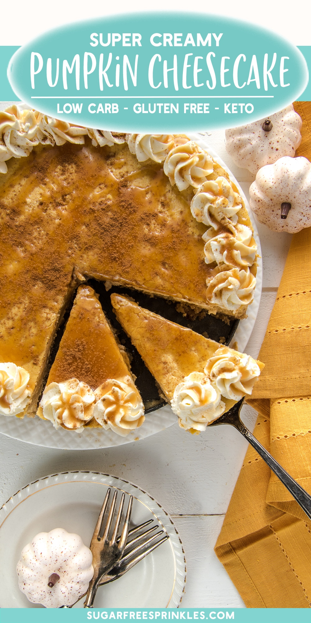 A low carb pumpkin cheesecake recipe perfect for Thanksgiving or any holiday meal. This pumpkin cheesecake is filled with warm fall spices like cinnamon, nutmeg, and ground cloves. This is a perfect low carb dessert recipe to wow at the end of a family meal. This recipe is also keto-friendly and has no added refined sugar. #thanksgivingdessert #lowcarbcheesecake #pumpkincheesecake #holidaydesserts #ketocheesecake