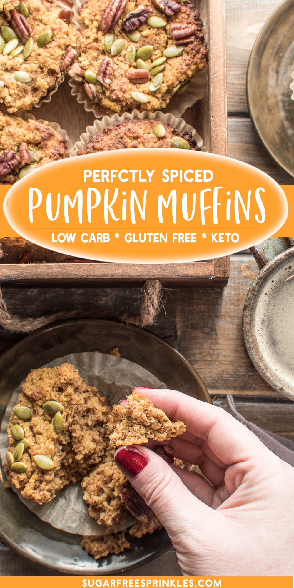 These low carb pumpkin muffins are bursting with warm fall spices. A low carb baking recipe that you can whip up quick and have for breakfast all week long. This keto-friendly muffin recipe bakes up moist and dense, with a great texture and flavor. These pumpkin spice muffins are also, gluten-free, and can be adapted to be dairy-free.