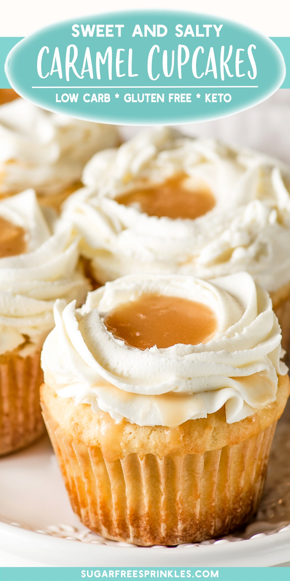 This salted caramel keto cupcake recipe is a sure hit. A sweet vanilla cupcake base, topped with gooey salted caramel and a creamy cream cheese frosting. Hard to believe this recipe is low carb. No grains or added refined sugars these low carb cupcakes are gluten-free and have less than 5 carbs per serving. #ketocupcake #lowcarbcupcake #lowcarbdessserts #ketodesserts