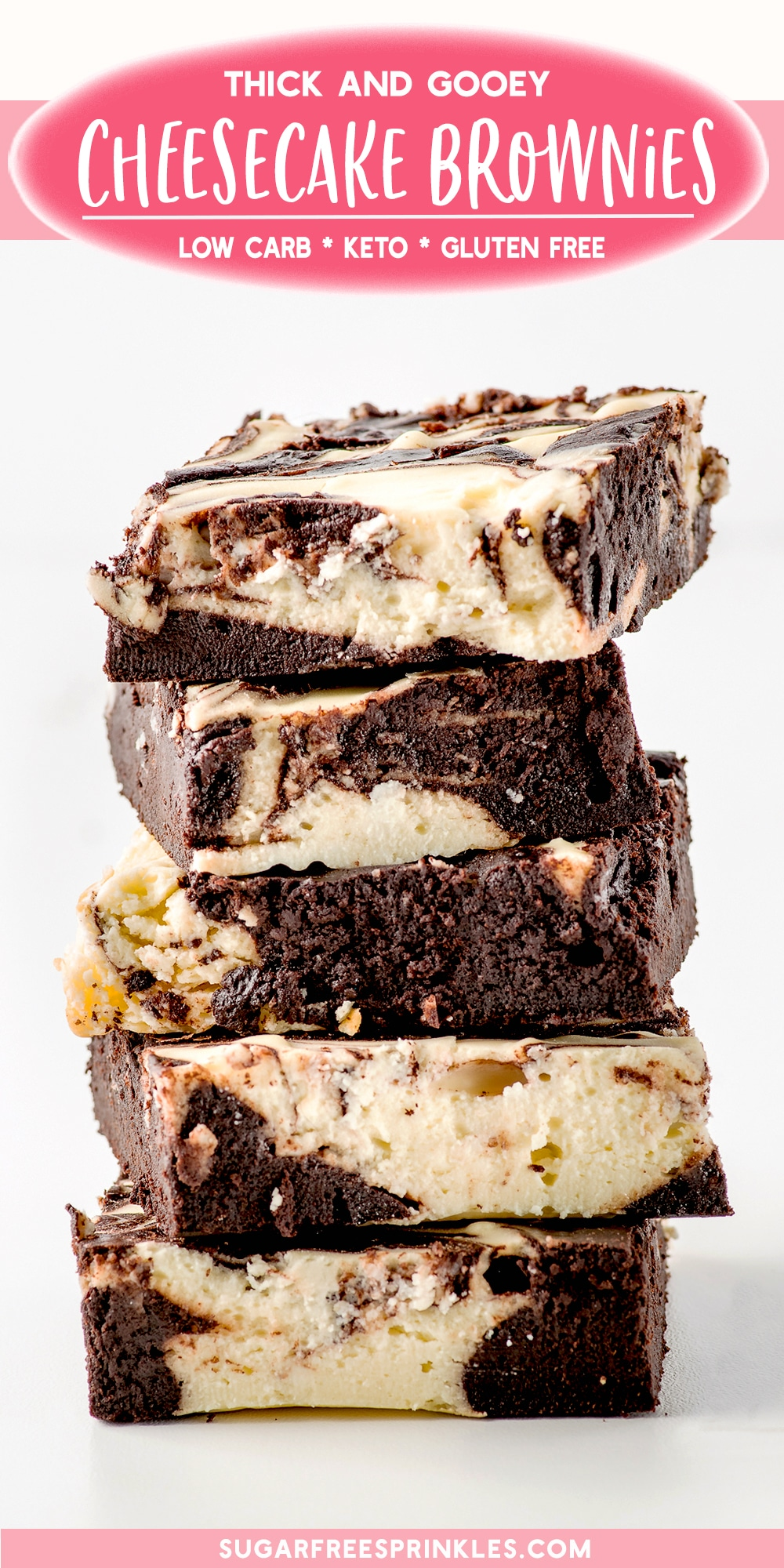 These keto cheesecake brownies have less than 3 net carbs per serving. They are super chocolatey, rich and creamy, and make a perfect sweet treat without a load of sugar. Made without grains or refined sugars these brownies are also gluten-free and low carb. These homemade cheesecake brownies are great with a scoop of low carb ice cream and keto-friendly caramel. #ketobrownies #lowcarbbrownies #glutenfreebrownies