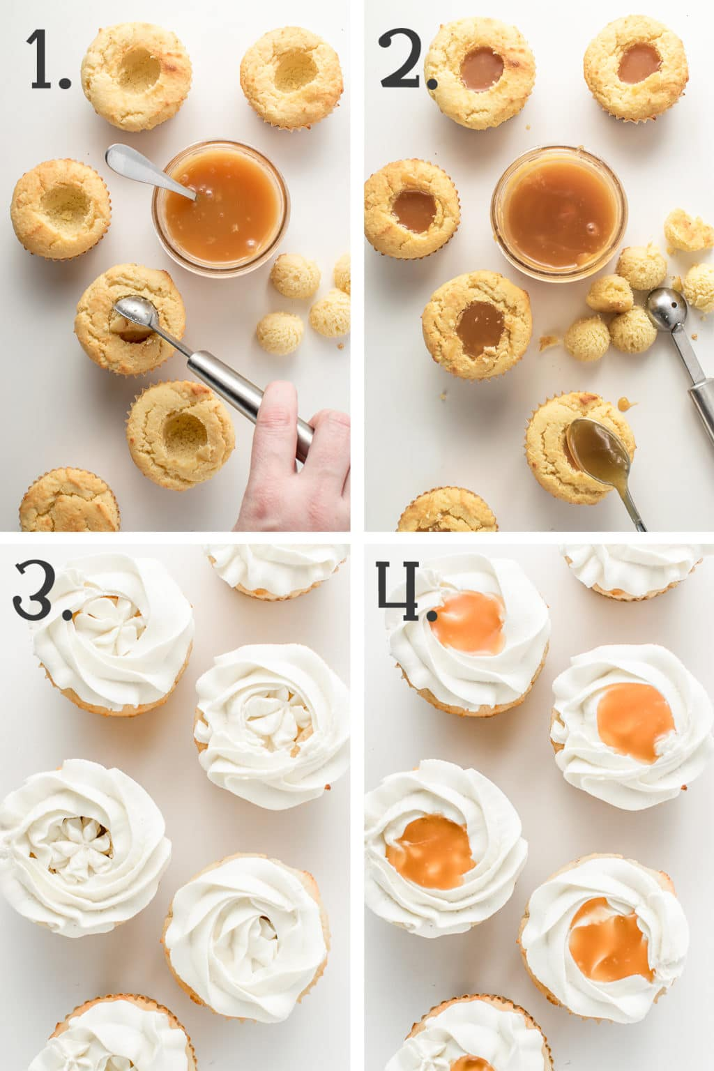 In process photos of cupcakes being filled with caramel and piped with white creamy frosting