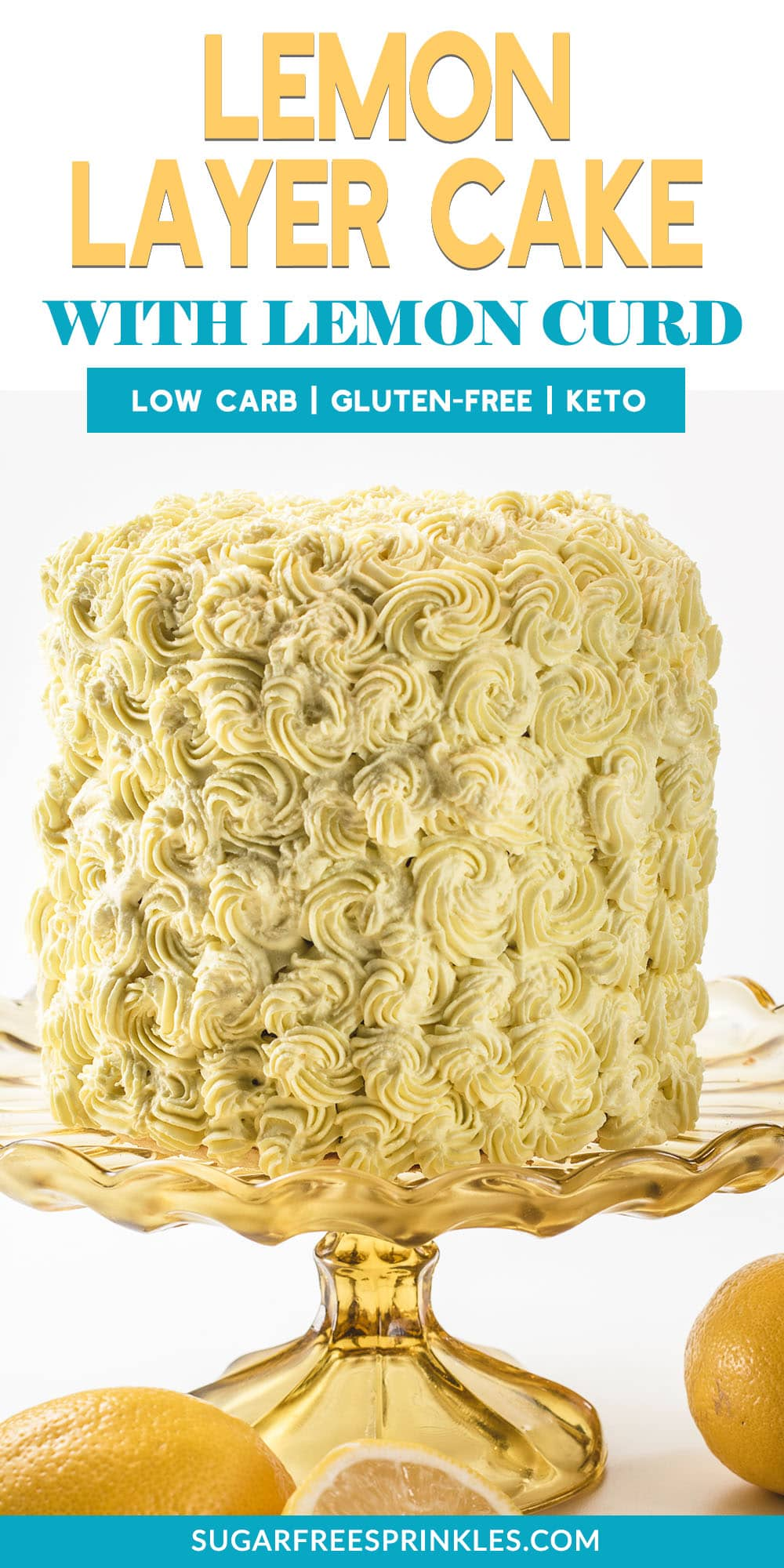 Fresh homemade lemon curd is the star in this keto lemon cake. It\'s tart, and sweet, and does not grain up when refrigerated. You will want to make an extra batch of the lemon curd just to have on hand, it\'s SO good. This keto lemon cake is luscious and creamy and is layered with stacks of whipped cream and fresh lemon curd. This low carb lemon cake serves 14 and is great for a crowd or holiday meal. #ketocakes #ketolemoncake #ketodessters