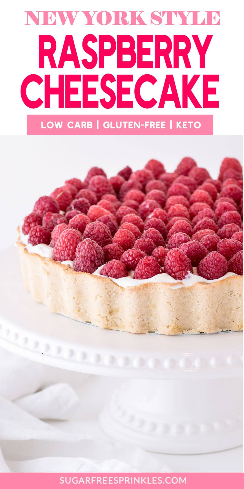 This low carb raspberry cheesecake is dense and rich and perfect for a holiday meal. This low carb baking recipe is dense and rich, creamy and decadent, sure to wow at any get-together. This raspberry cheesecake is also keto-friendly (with a few tweaks), and gluten-free. You can also make this low carb cheesecake in advance and freeze for up to a month. #lowcarbcheesecake #raspberrycheesecake #ketocheesecake #glutenfreecheesecake #lowcarbdesserts #lowcarbholidaydesserts