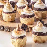 Keto Smores Cupcakes With Sugar free Marshmallow Fluff.