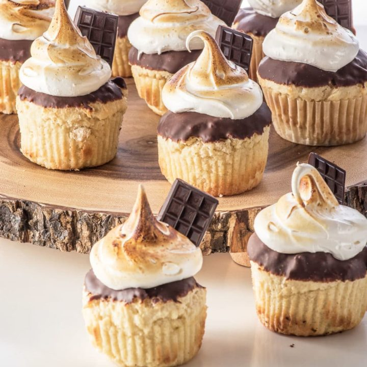 Keto Smore's Cupcakes With Sugarfree Marshmallow Fluff  (Low Carb & Gluten Free)