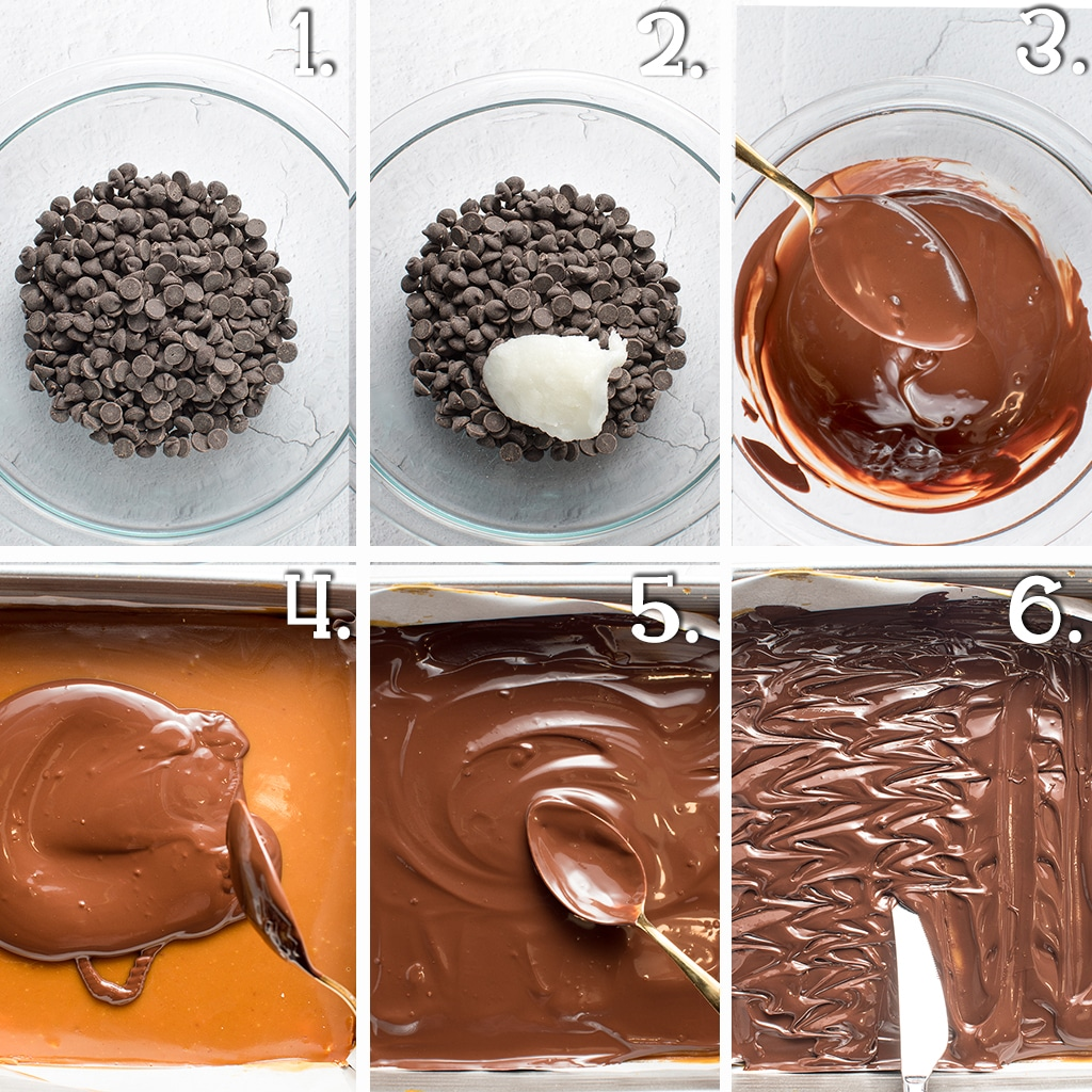 In process step by step shots for making a chocolate topping