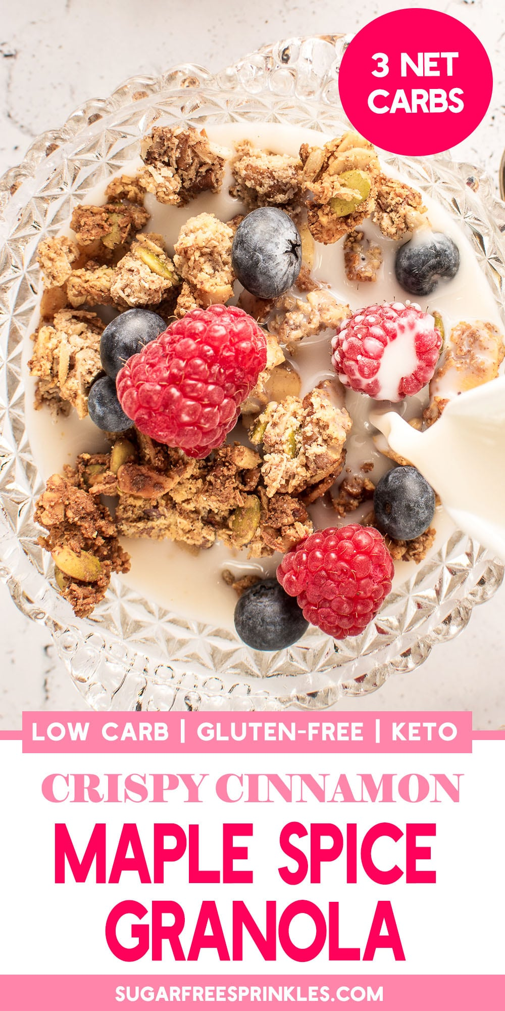A crispy, chewy, lightly sweetened low carb granola. Also keto-friendly at only 3 net carbs per serving, and completely gluten-free. This granola stores for up to two weeks in the cupboard, making it a quick and delicious breakfast for a hectic morning.