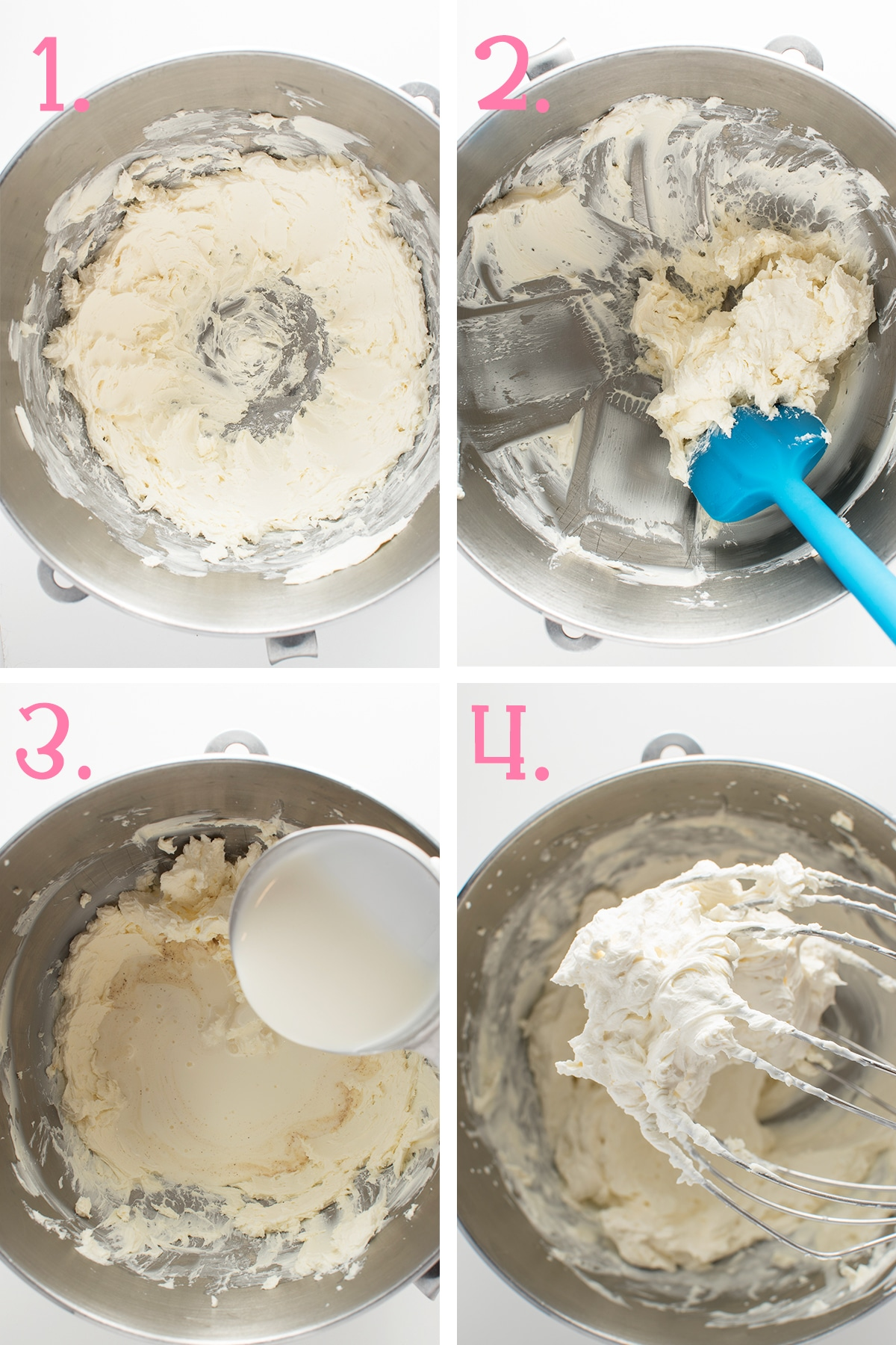 A four panel photograph showing how the whipped cream frosting is made.