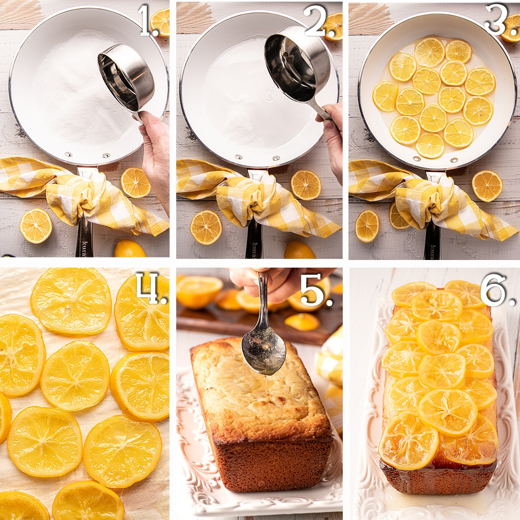 six in process photographs demonstrating the steps to make candy lemons