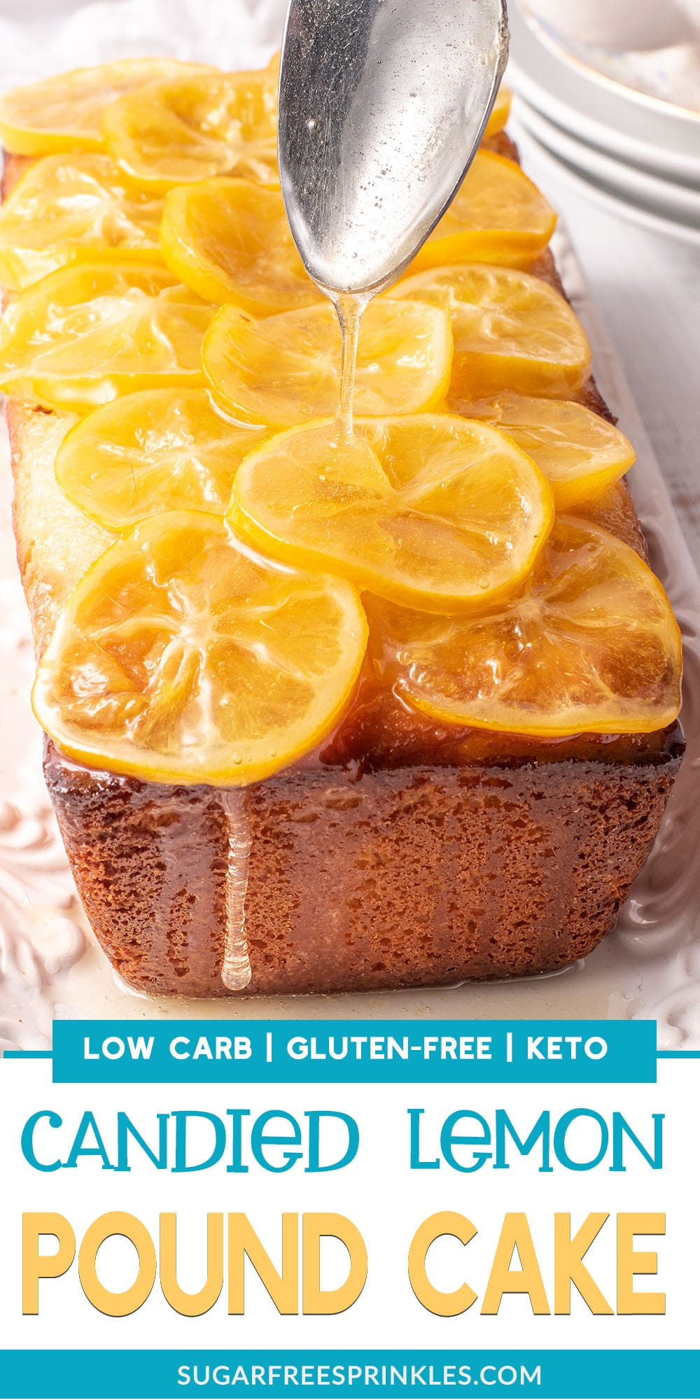 Check out this low carb lemon pound cake with a candy lemon topping. This cake is sweet and moist, dripping with thick lemon syrup and topped with sticky marmalade lemons. You will want to add this low carb baking recipe to your list! The cake is also keto-friendly, and gluten-free.