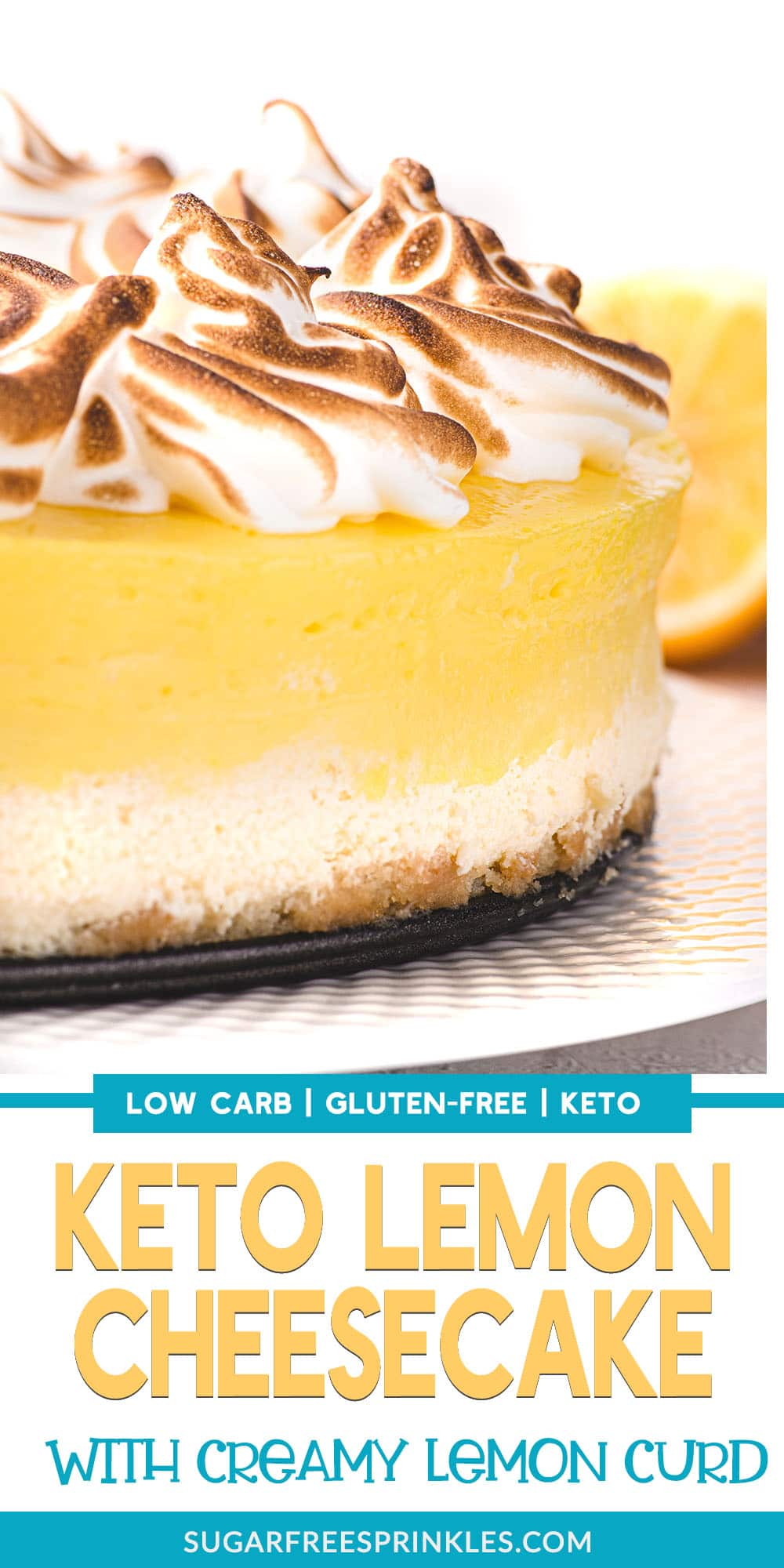 If you like lemons, you\'re in for a treat. This low carb lemon cheesecake is topped with a luscious curd and sweet fluffy meringue. Made without refined sugar this cheesecake recipe will fit perfectly into your low carb or keto diets. A great dessert for a holiday or a crowd or just because it\'s Tuesday.