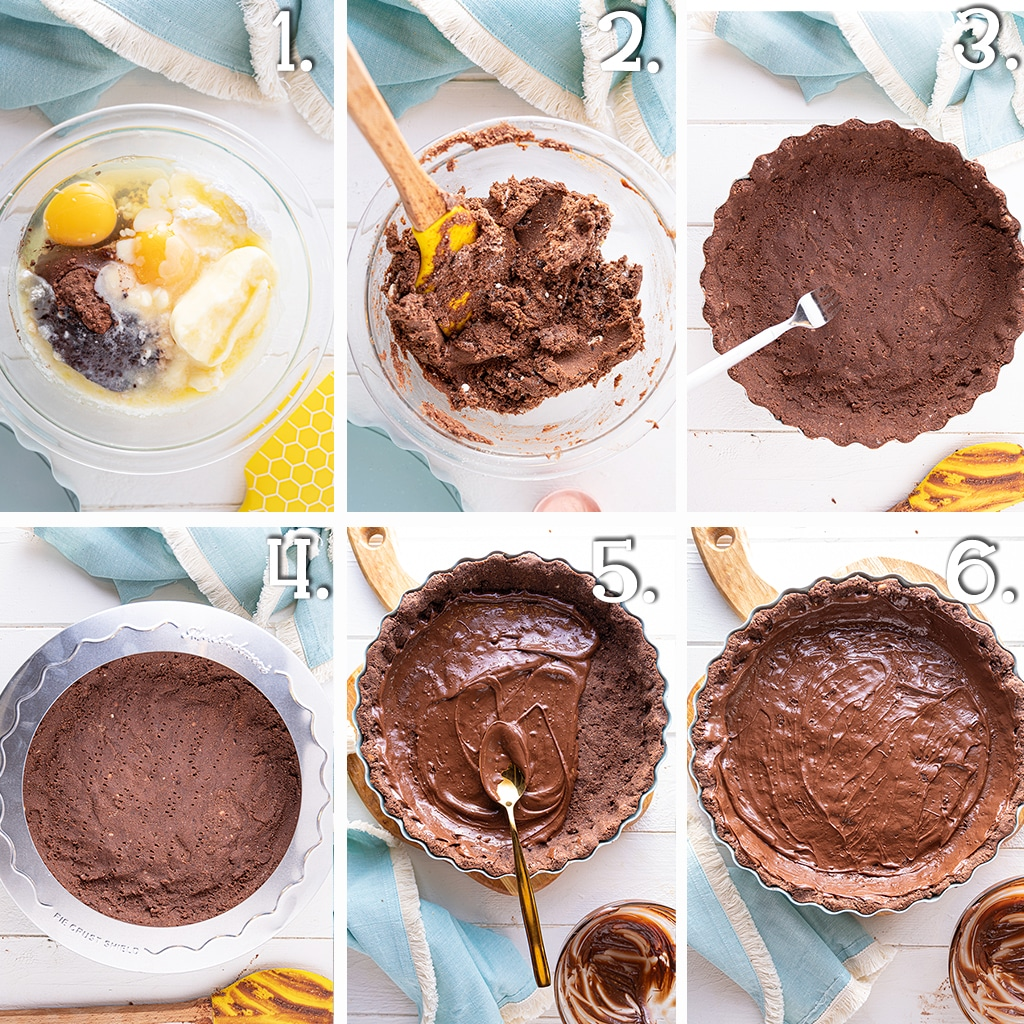 In process step by step instructions for making a low carb chocolate pie crust