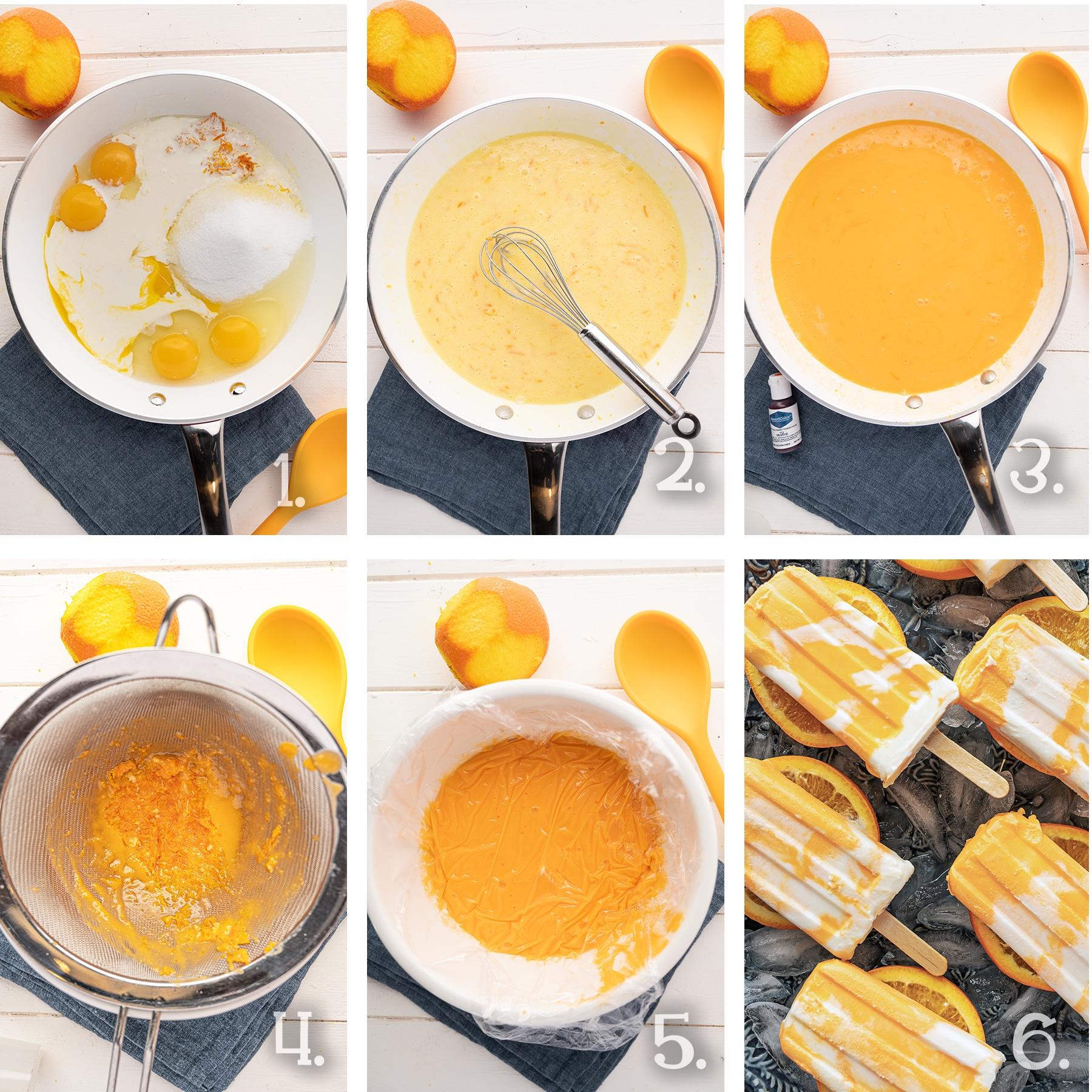 In process photographs of making orange custard