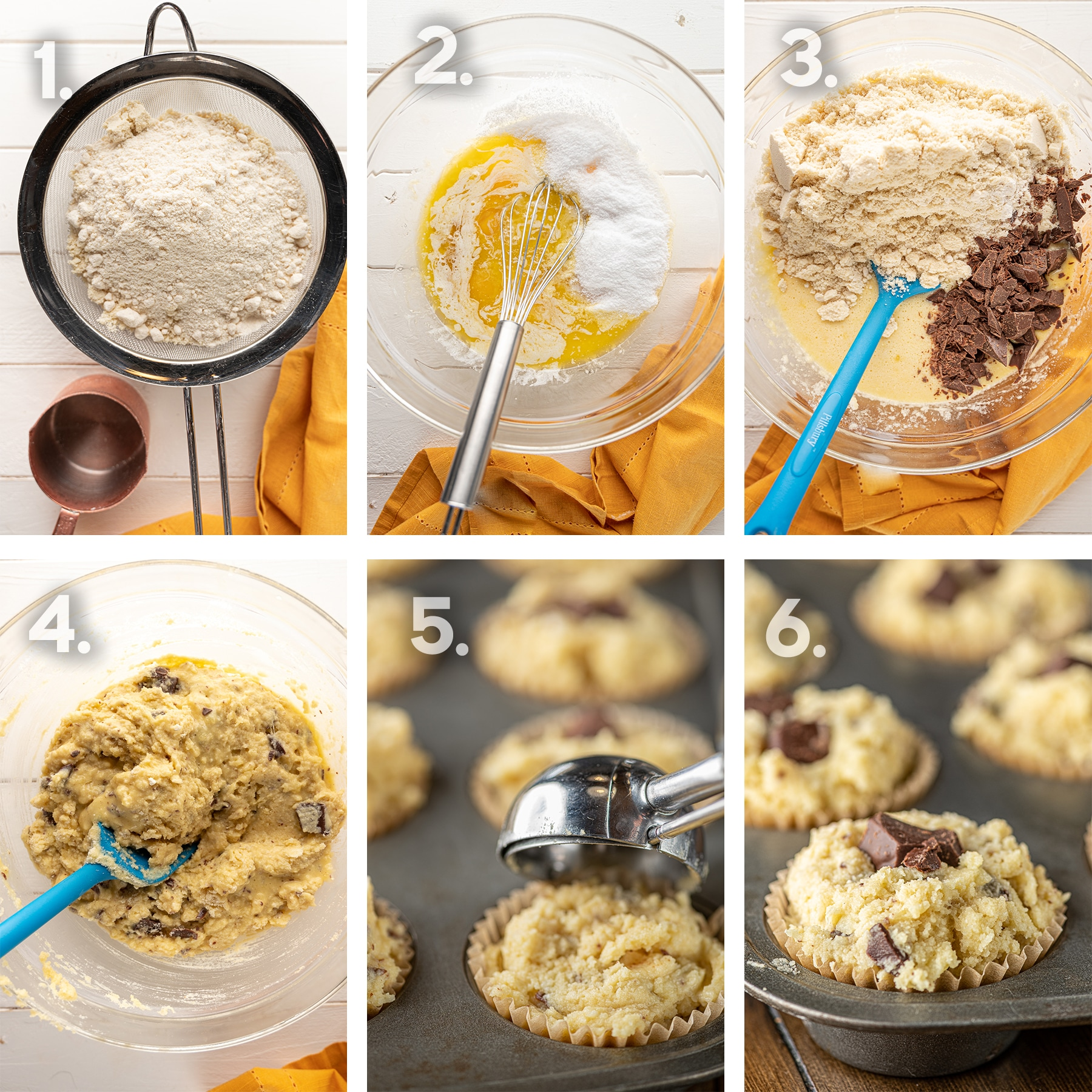 A six-panel step by step process of making low carb banana muffins.