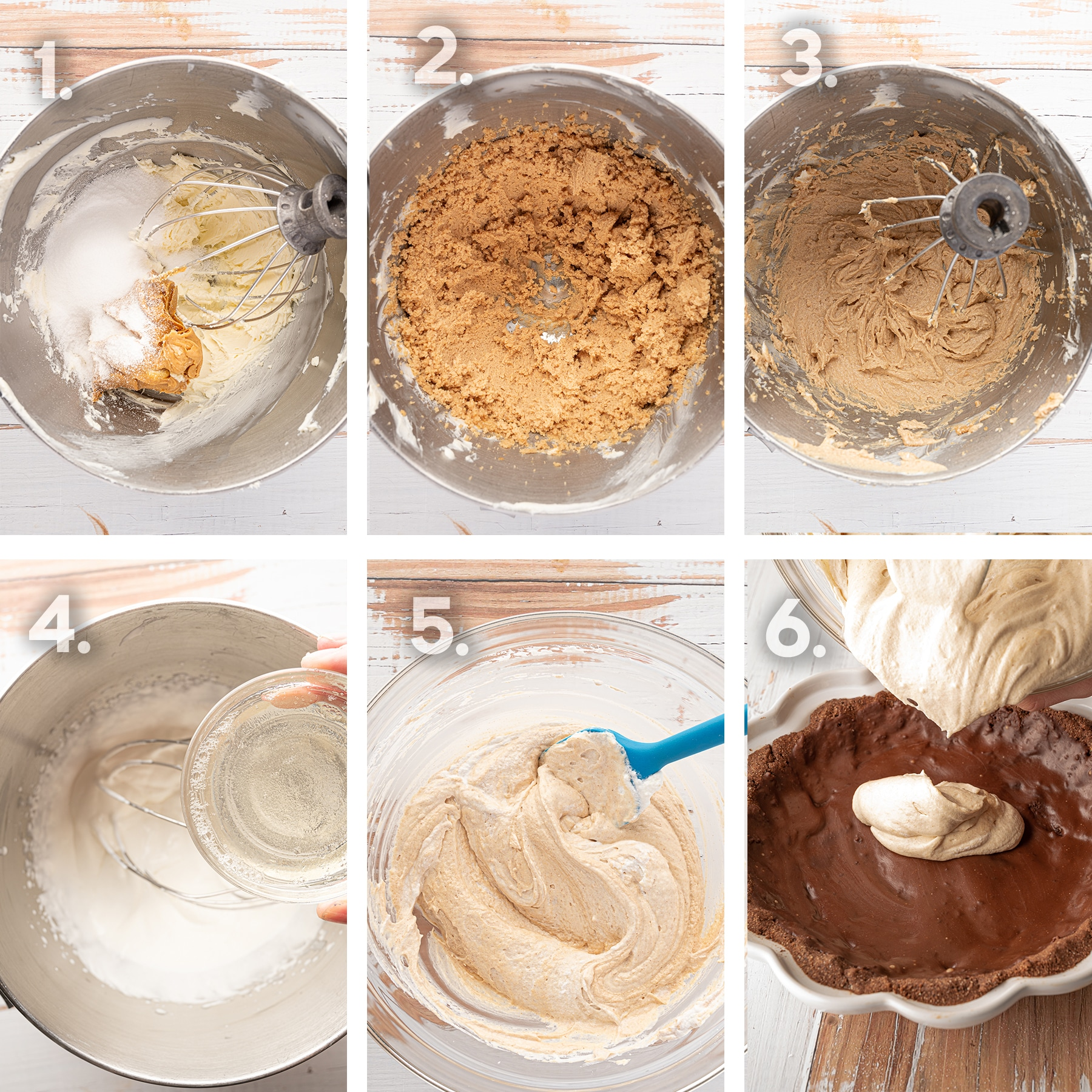 6 step photograph of the peanut butter pie filling from whipping the cream, folding in the peanut butter mixture and pouring into the prepared crust.