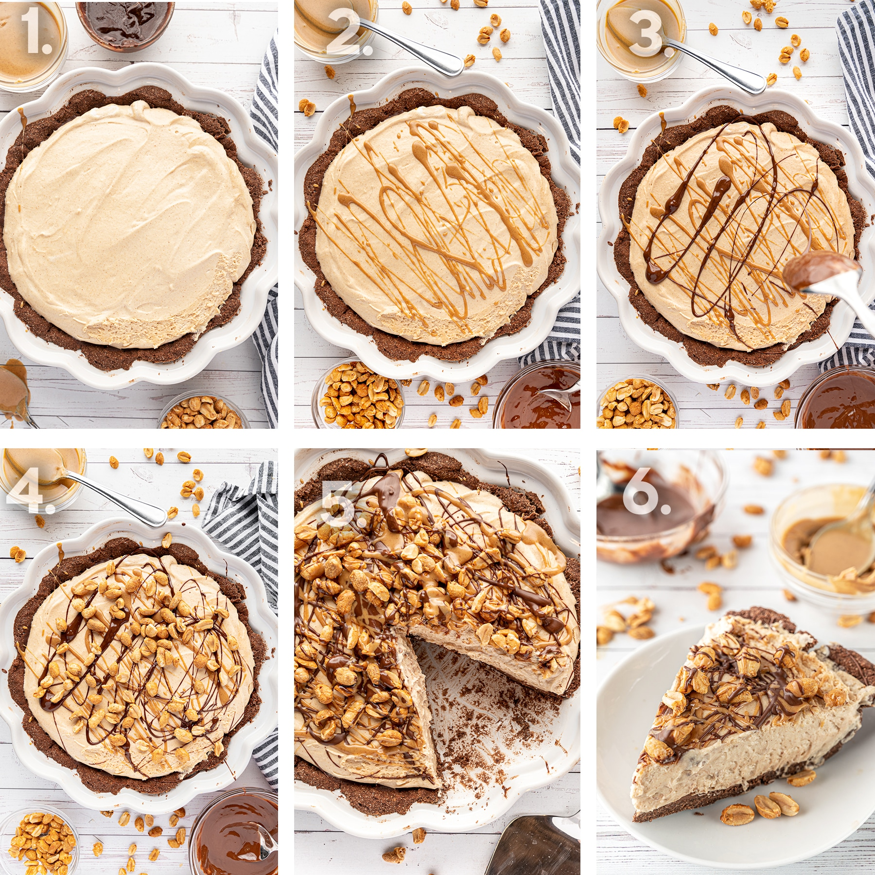 6 panel photograph showing the steps to decorate the top of the peanut butter pie.