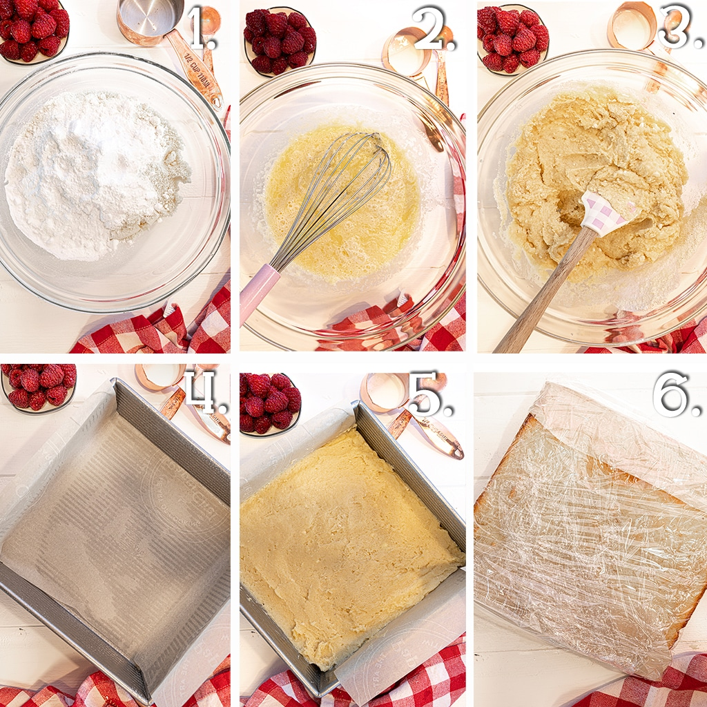 In process photo montage for making low carb vanilla shortcakes.  With photos of bowls with ingredients, baking pans, and baked square cake covered in plastic wrap.