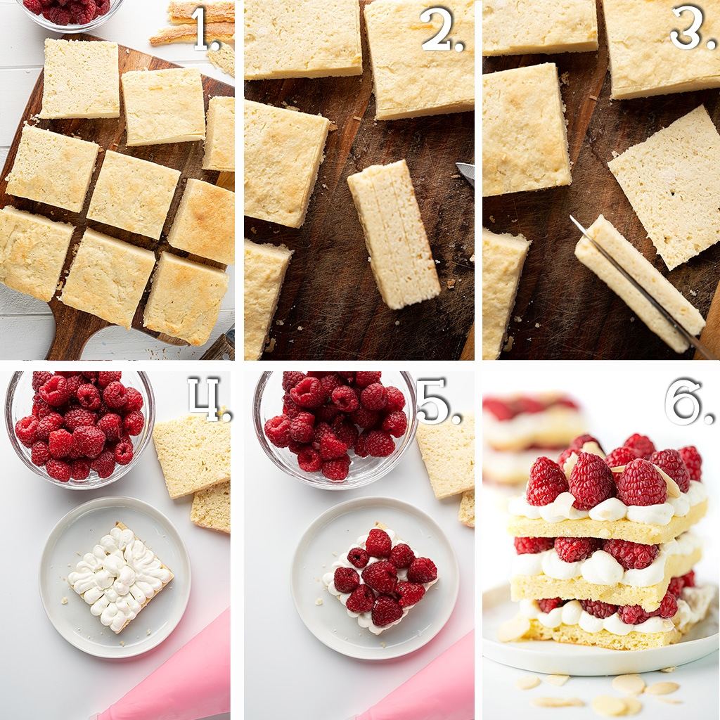 A 6 panel photo montage showing cut square pieces of the shortcake, the short cakes pieces sliced into 3 parts and the layering of cake base, whipped cream filling, and fresh raspberries.