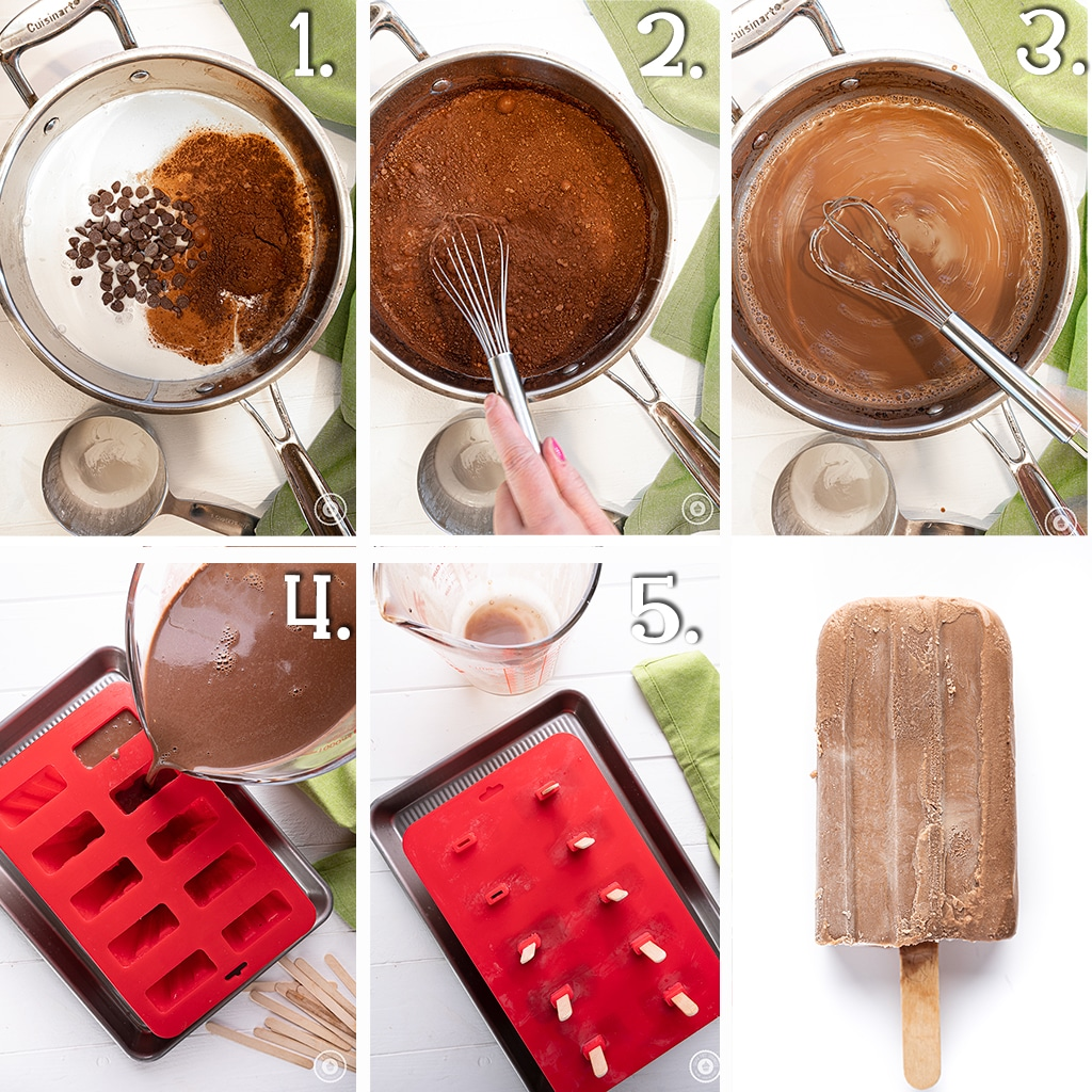 In process photo with six panels demonstrating how to cook and mold the fudgesicles
