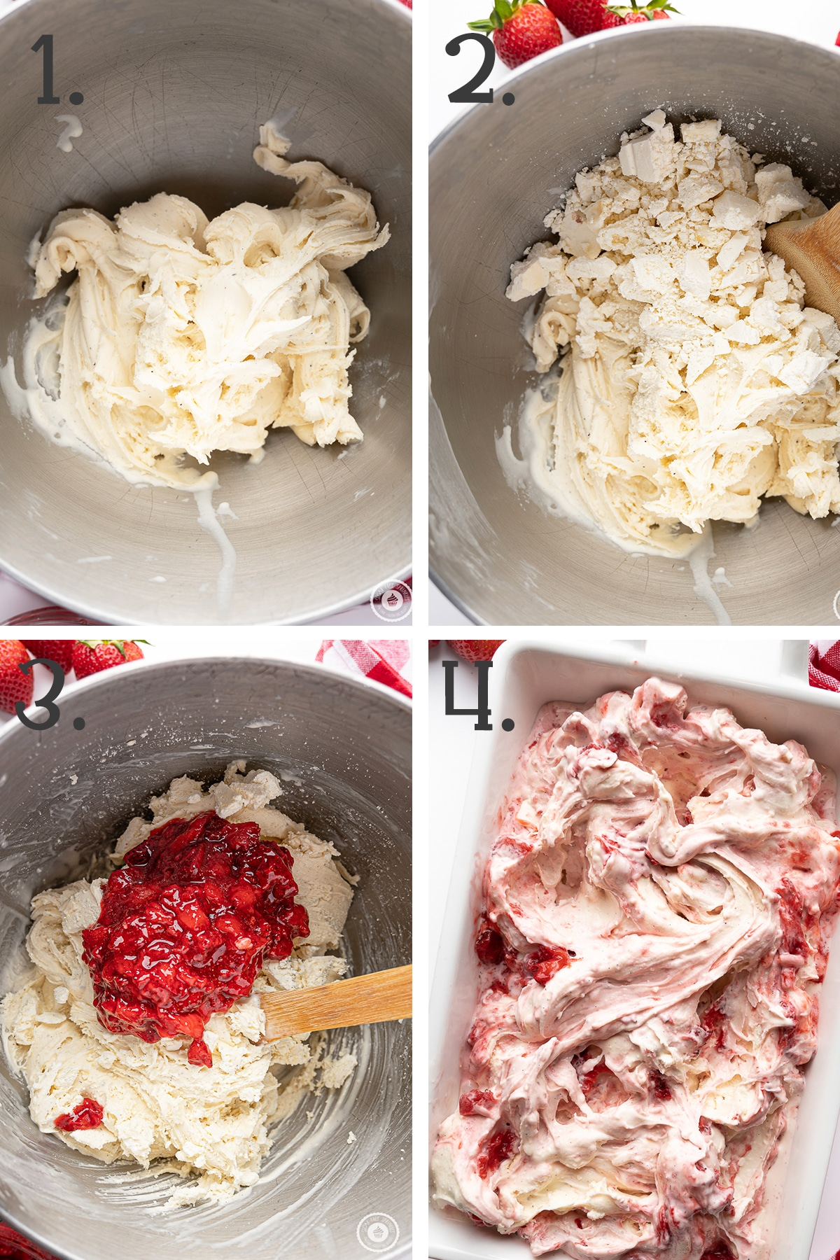 Four panel in process photographs showing how to mix the cheesecake bits and strawberry ripple into the ice cream.