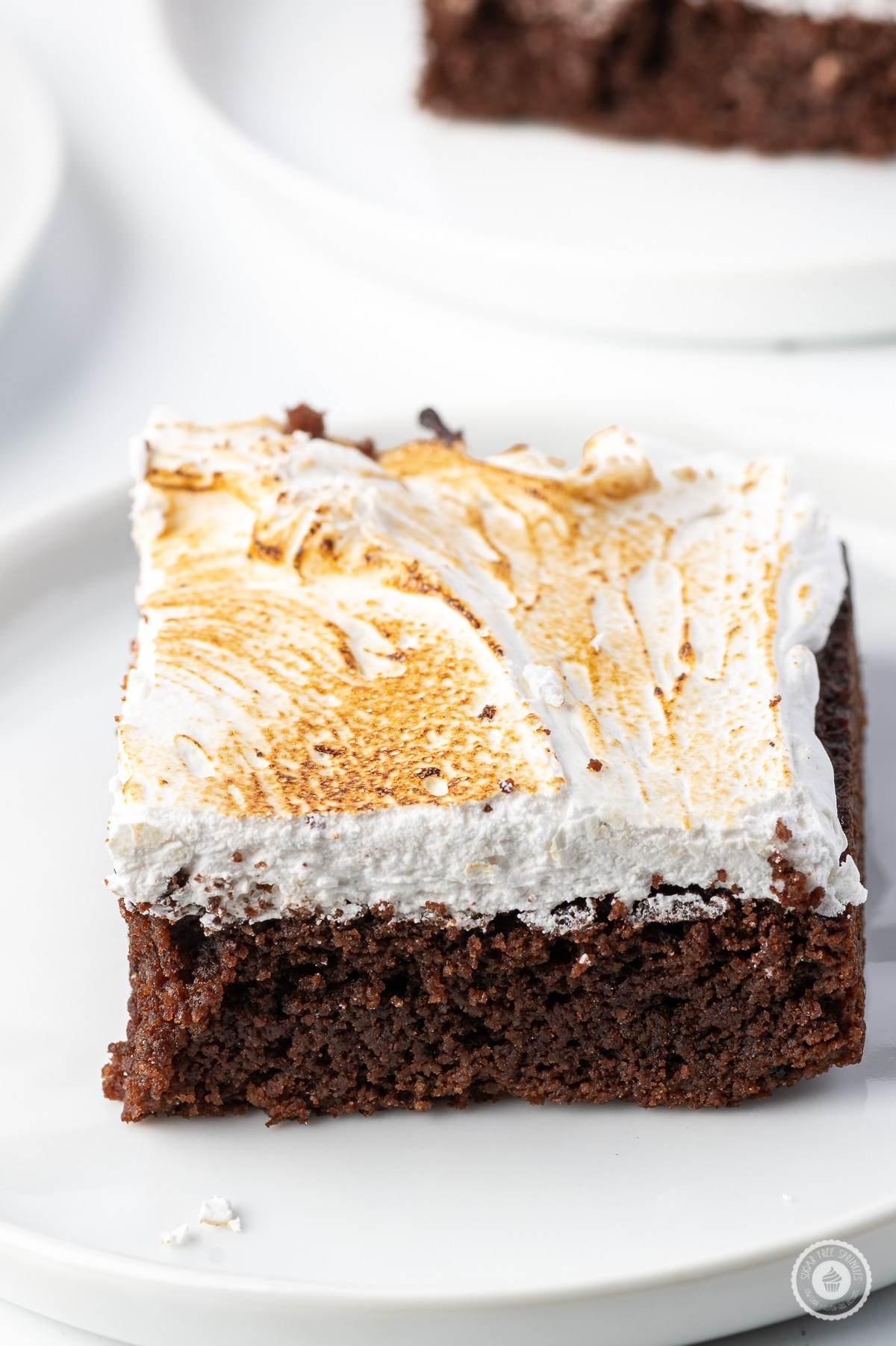 A single slice of low carb smores brownie on a bright white plate