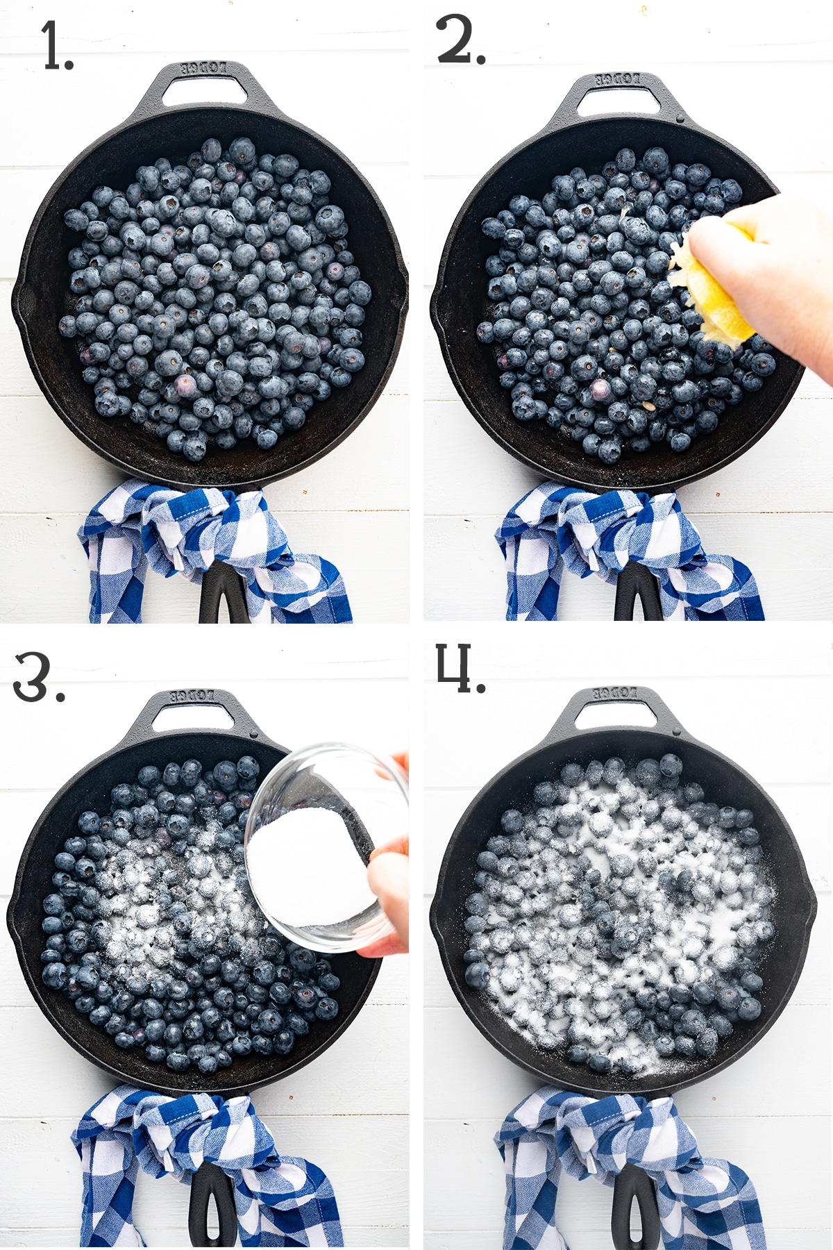 four panel photo showing how to prep the blueberries for the cobbler recipe.  The blueberries are in a black cast iron pan sitting on a bright white wooden background.