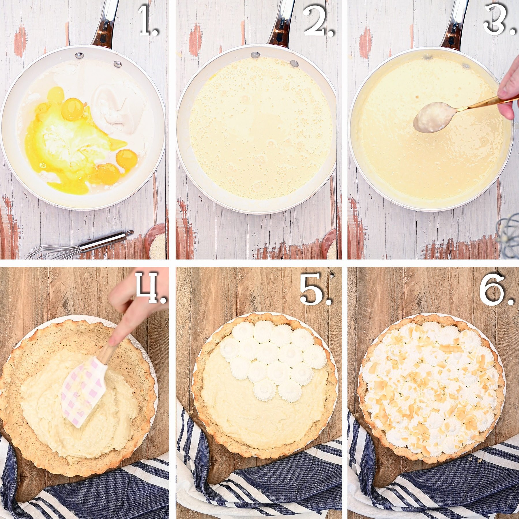 Six panel in process shot showing the time line between making the coconut cream pie filling, filling the crust, and topping it with whip cream stars and toasted coconut.