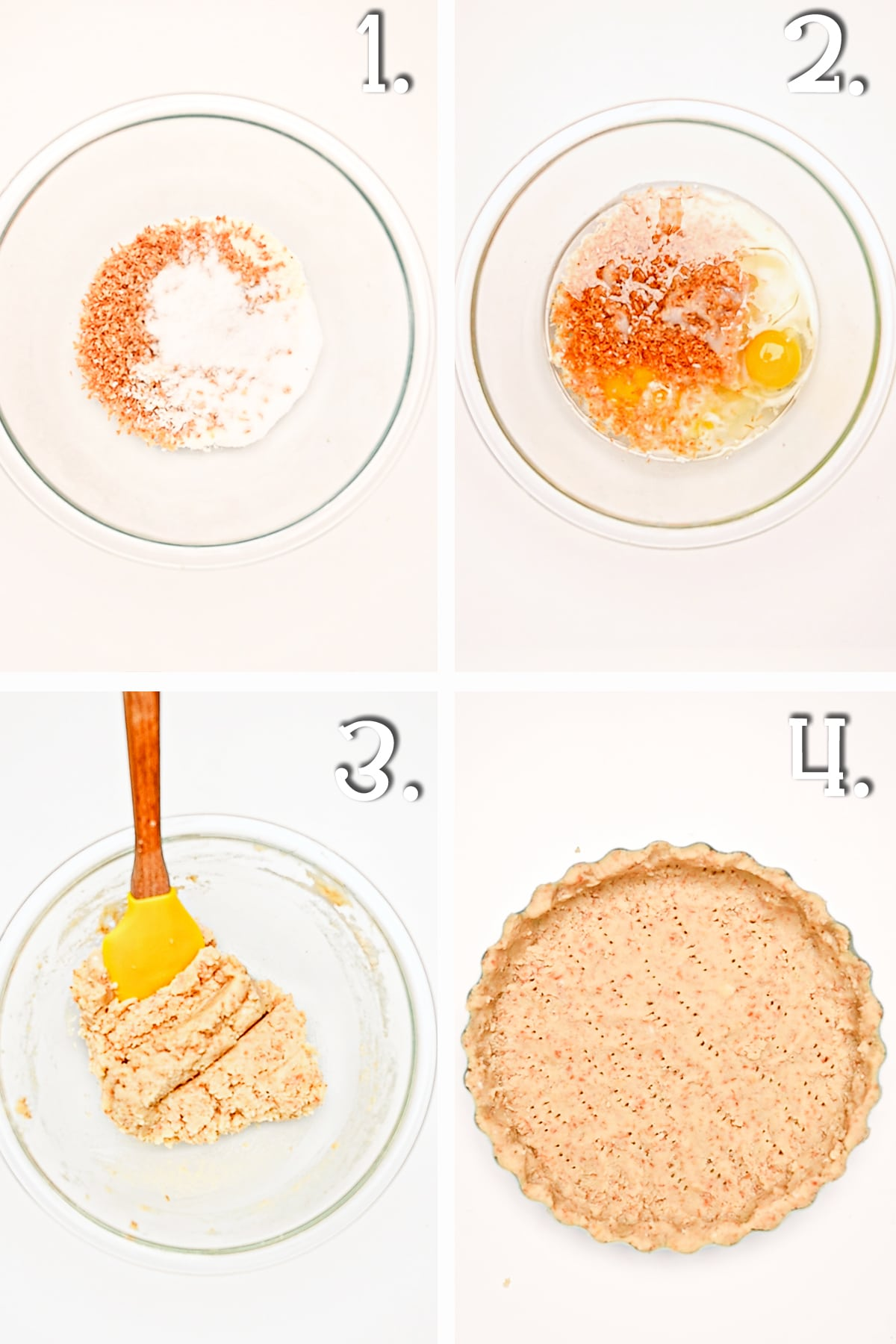 A four panel in process timeline with clear glass bowl on a bright white background showing the steps for making a low carb coconut crust