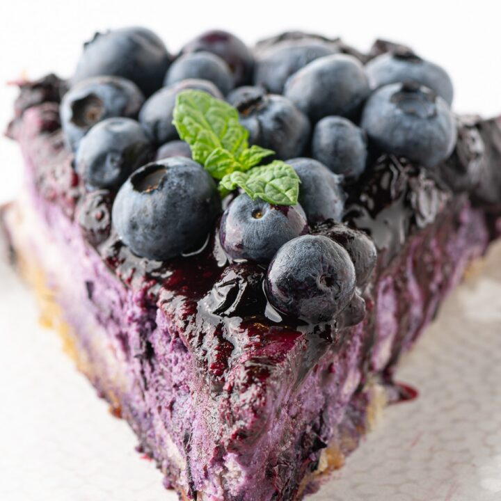 Thick & Creamy Low Carb Blueberry Cheesecake