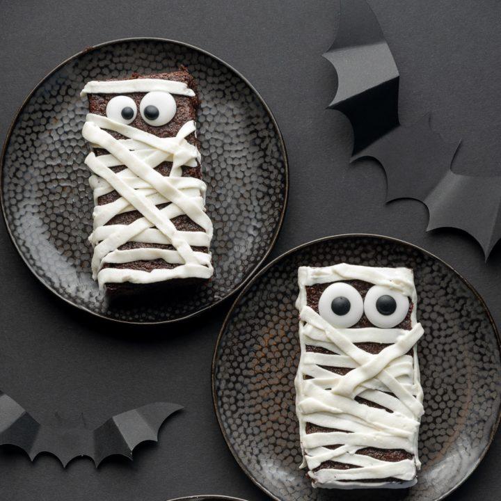 Halloween Mummy Sugar-Free Brownie Treats  (Gluten-Free & Low Carb)