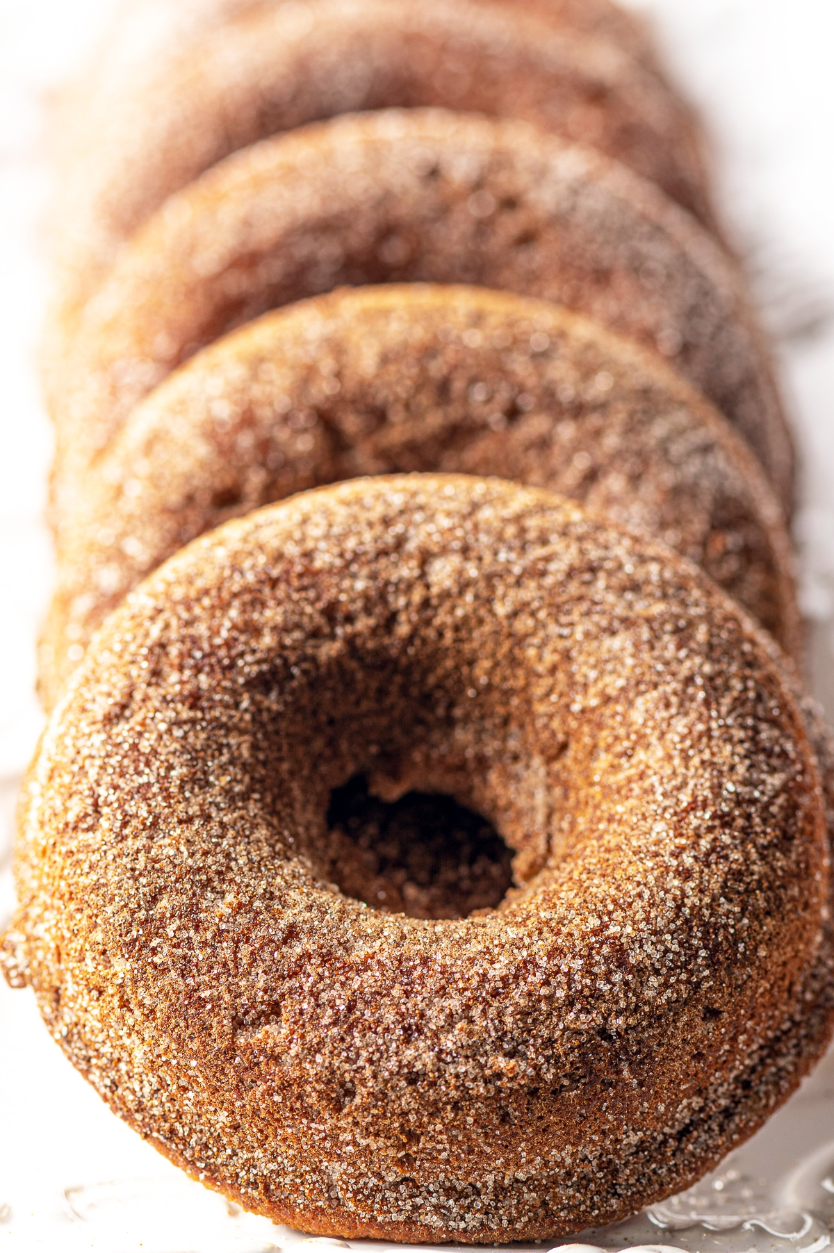 Golden baked cinnamon and Allulose coated donuts resting on a white plate